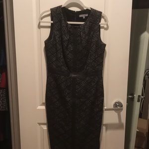 Dress with leather trim